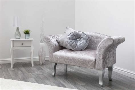 silver crushed velvet bedroom chaise longue bedroom chair