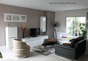 sejour contemporain taupe gris blanc noir With decoration simple pour salon