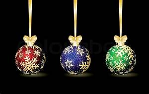 Three colored Christmas spheres on a ... | Stock Vector ...