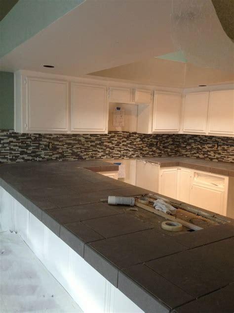 porcelain tile kitchen countertops 12x24 porcelain countertops w glass mosaic backsplash yelp 4341