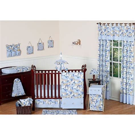 The eiffel tower is the iconic image of paris that stands out in the design of this crib set. Sweet Jojo Designs Camo Crib Bedding Collection in Blue ...