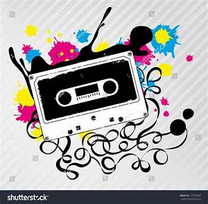 Cassette Tape Ink Splash Graphic Vector Stock Vector ...
