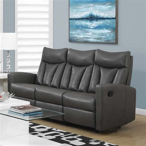 grey reclining sectional leather reclining sofa in charcoal gray i87gy 3