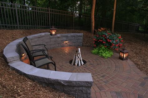firepit wall half circle retaining wall and fire pit rustic minneapolis by architectural landscape design