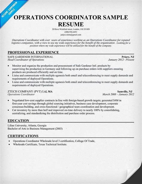 operations coordinator resume resumecompanion