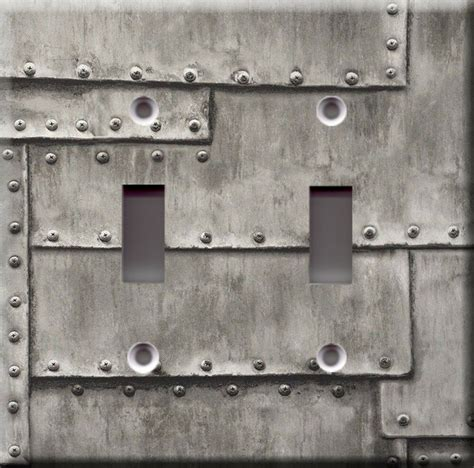 light switch plate cover industrial metal grey faux