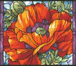 Stained Glass Poppy Pattern