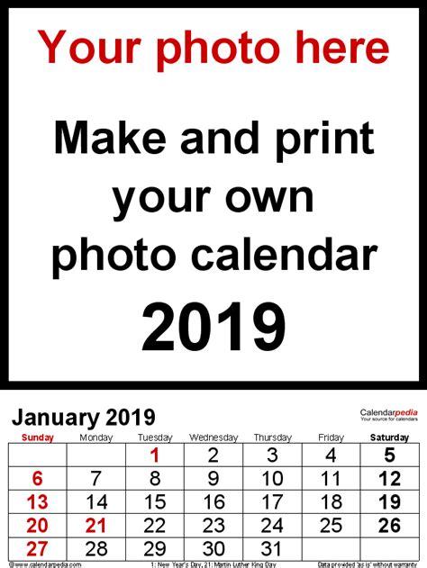 photo calendar printable word templates