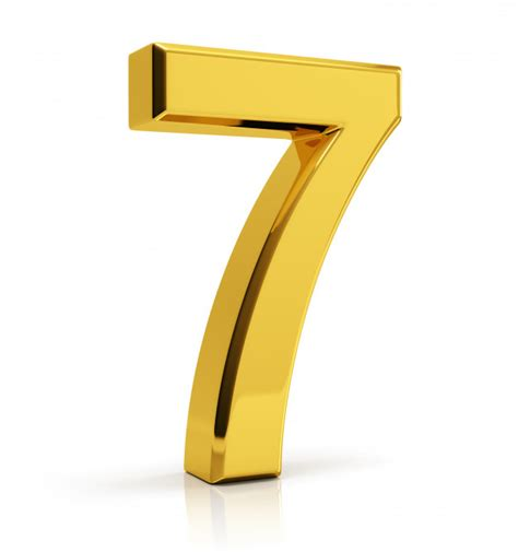 gold color number gold number 7 photo premium