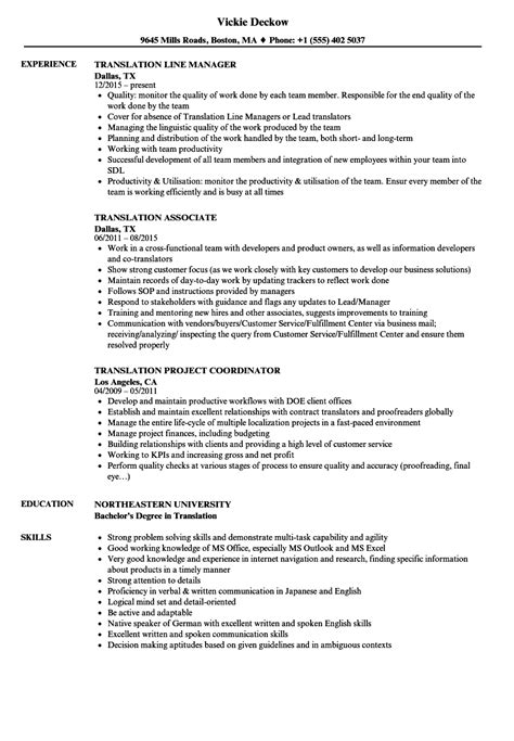 Translator Resume Sle by Resume For Translation Vvengelbert Nl