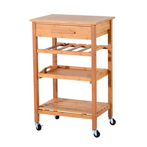 wooden kitchen storage trolley homcom rolling wood kitchen trolley station w storage 1647