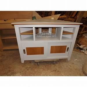 Meuble Laqué Gris : meuble tv hifi d 39 angle laqu gris meubles jamet ~ Dode.kayakingforconservation.com Idées de Décoration