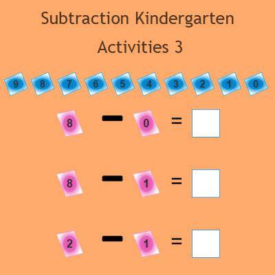 subtraction kindergarten activities  kindergarten