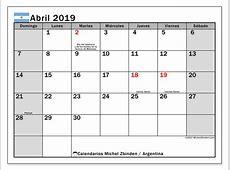 Calendario abril 2019, Argentina Michel Zbinden ES