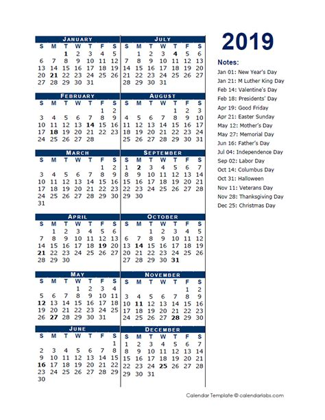 calendar template full year 2019 full year calendar template half page free