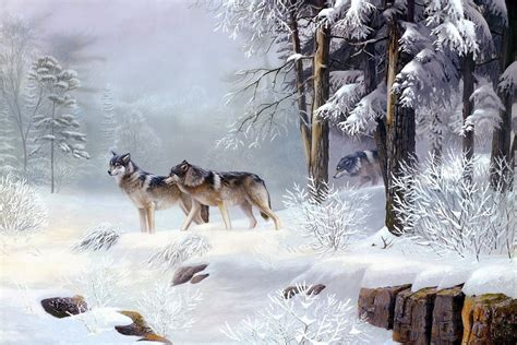 wolves winter forest world snow trees animal