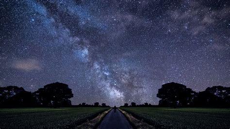 Wallpaper Landscape Night Sky Field Road Stars