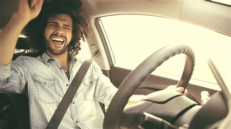 Happy Man Driving Car Retro Look Singing On Music Stock