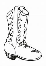 Coloring Cowboy Boot Decorated sketch template