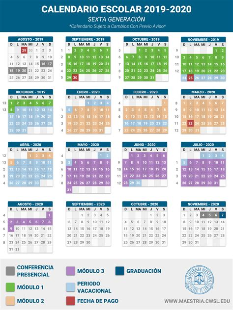 calendario escolar   maestria
