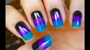 unhas decoradas degrade ombre tons escuros nail