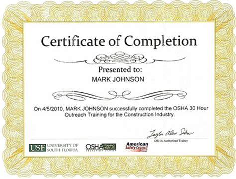osha 10 certificate template construction safety osha 30 hour construction safety
