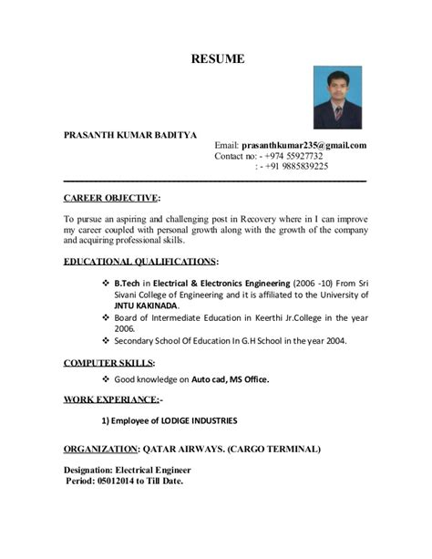 prasanth resume b tech eee