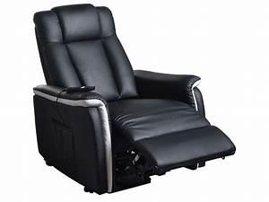 Fauteuil Electrique Conforama : fauteuil relaxation lectrique et releveur mario coloris noir et blanc en pu cuir vente de ~ Teatrodelosmanantiales.com Idées de Décoration
