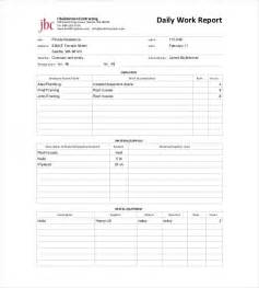 Daily Work Report Form Template