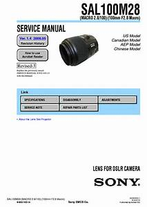 Sony Sal100m28 100mm F2 8 Macro Service Manual Repair