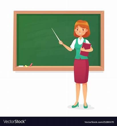 Teach Teacher Chalkboard Professor Female Vector Well