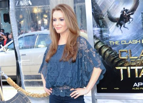 alyssa milano wearing  long hair smoothed
