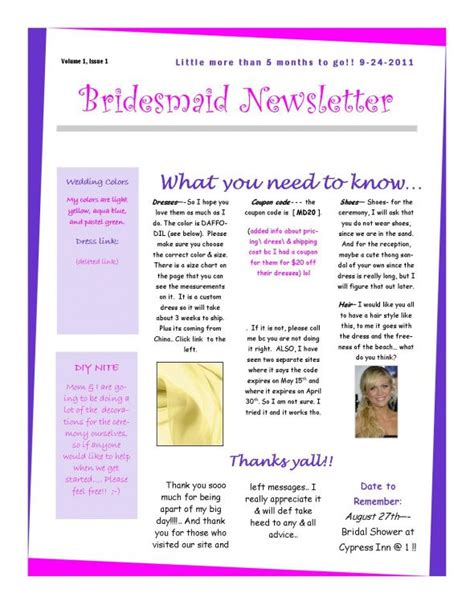 bridesmaid newsletter template the 1st bridesmaid newsletter weddingbee photo gallery
