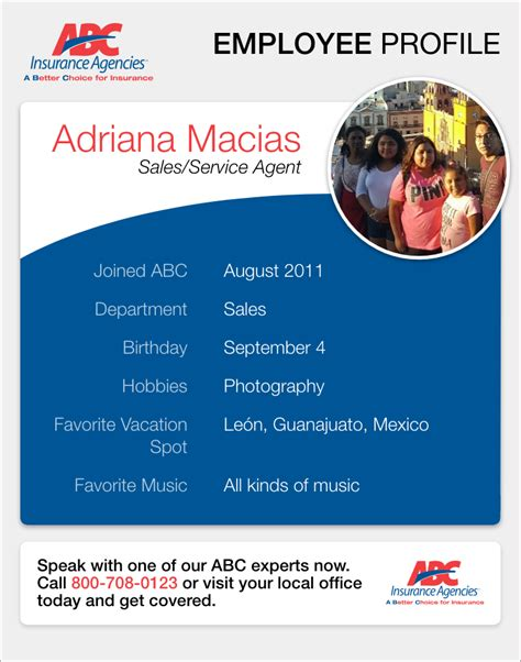 Abc insurance agency 's discount codes and promotional codes can be contributed by users from couponupto.com and abc insurance agency, so we can't ensure all those codes work exactly. ABC Agent Profile: Adriana Macias | ABC Auto Insurance Blog