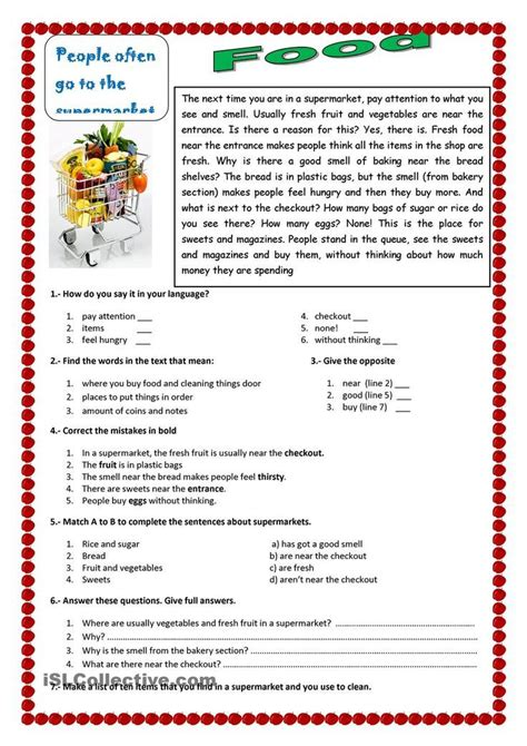 an esl reading exercise about food in a supermarket esl