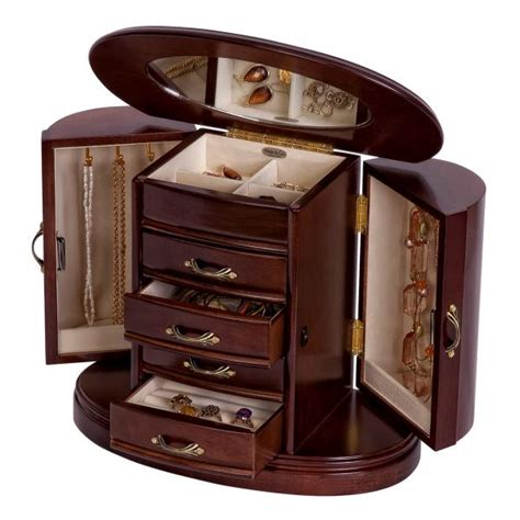 designer jewelry box wooden jewelry box walnut finish rounded design interior