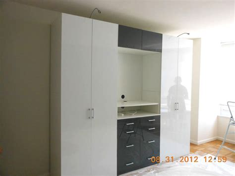 wardrobe cabinets in white grey glass