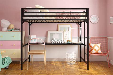 miles metal twin loft bed  desk dhp furniture