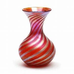 Vizzusi Art Glass Vase - Medium Bulb Murano Stripe Vase in
