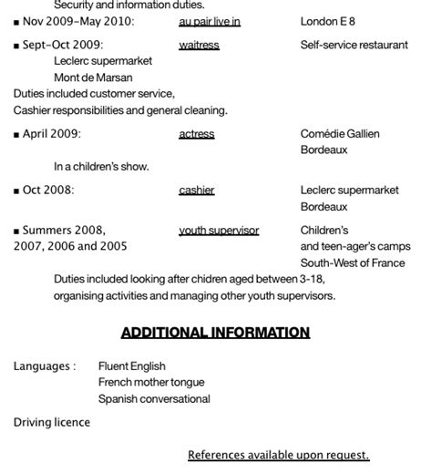 How To Write An Au Pair Resume by Exemple Cv Fille Au Pair Cv Anonyme