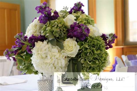 Purple And Green Wedding Flowers For A Wedding Reception