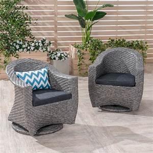 Mackenzie, Outdoor, Swivel, Wicker, Chairs, With, Cushions, Set, Of, 2, Mixed, Black, Dark, Gray