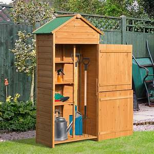 Outsunny, 90x50cm, Wooden, Garden, Shed, Outdoor, Shelves, Utility, Tool, Storage, Cabinet, 5055974839465