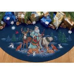 woodland santa tree skirt counted cross stitch kit 11436454 overstock shopping big