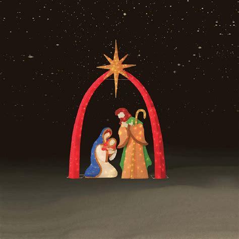 lighted outdoor nativity set 3 pc 72 quot chenille nativity scene kmart