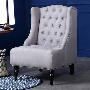 Wingback, Accent, Chair, Tall, High, Back, Living, Room, Tufted, Nailhead, Beige