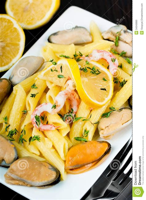 limoner cuisine pasta with mussels shrimp stock photo image 34340890
