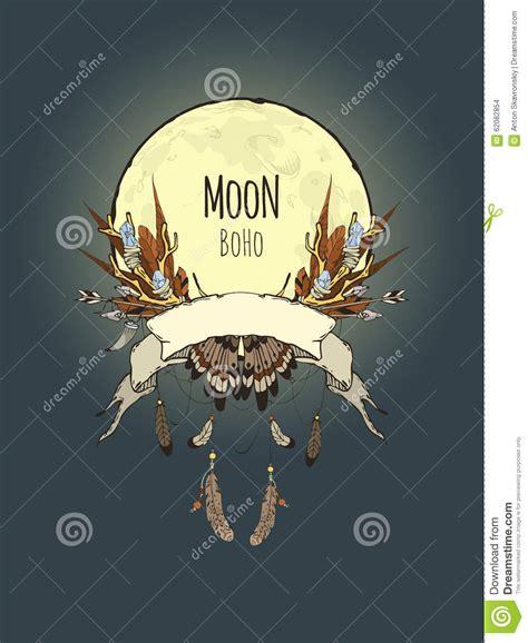 boho moon stock vector image