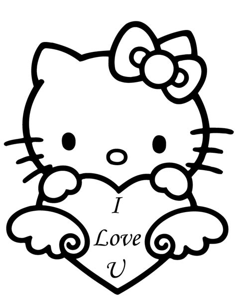 kitty valentine  love  coloring page