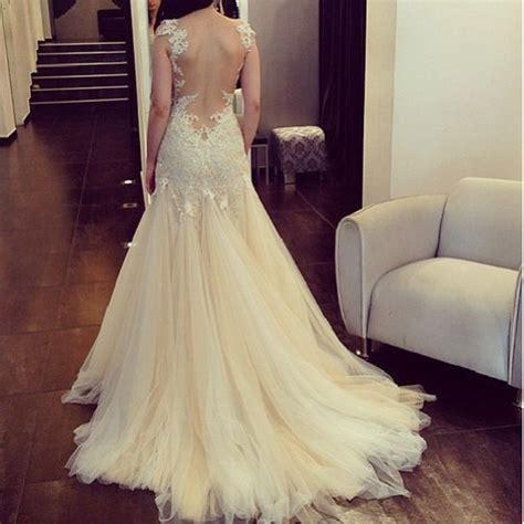 backless wedding dress lace dress wedding white pretty backless prom lace